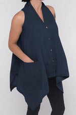 Solid Sleeveless Buttoned Irregular Casual Blouse