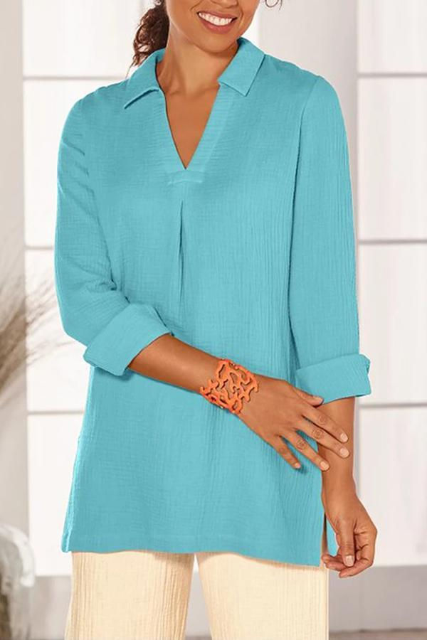 Solid V-neck Slit Side Blouse