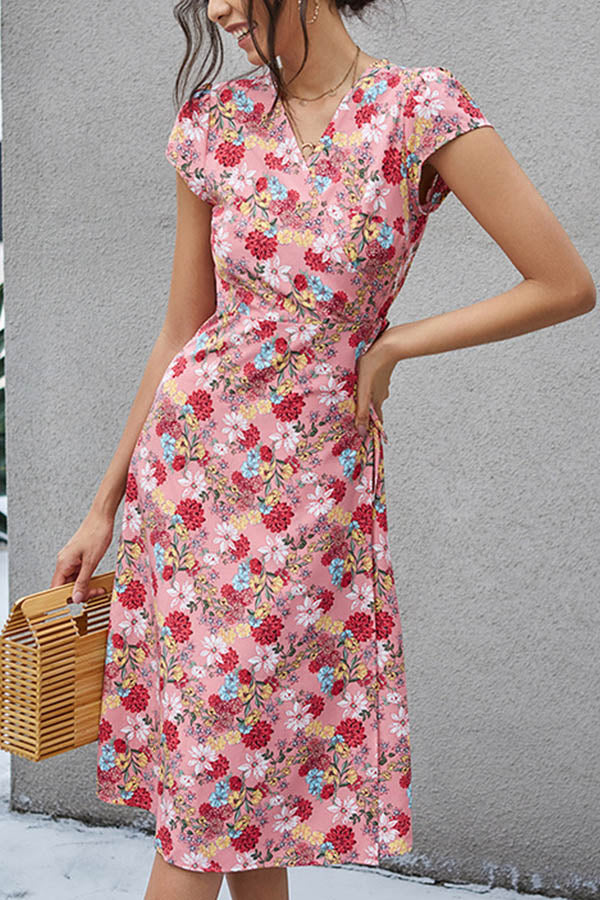 Floral Print Holiday Cross Front V-neck Self-tie Midi Dress