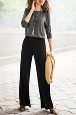Casual Solid High Waist Loose Pants