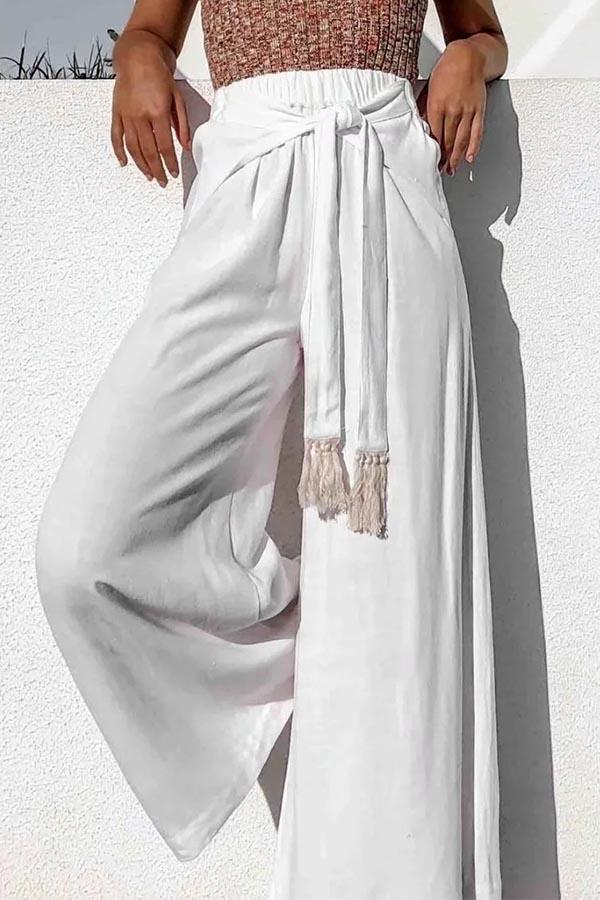 Solid Tassel Self-tie Wide Leg Casual Pants