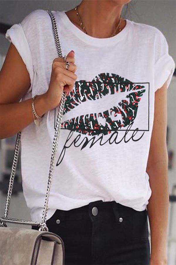 Casual Print Lips Short Sleeves  T Shirt