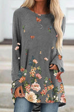 Sweety Floral Print Raglan Sleeves Crew Neck T-shirt