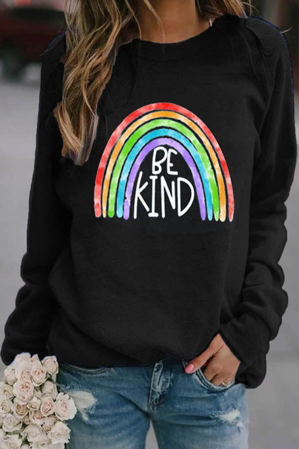 Be Kind Letter Under Rainbow Print Casual T-shirt
