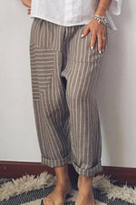 Striped Casual Linen Pants