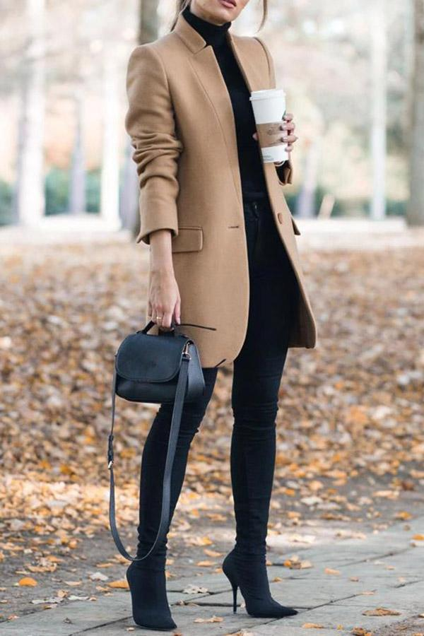 Stand Collar Solid Long Sleeves Casual Coat