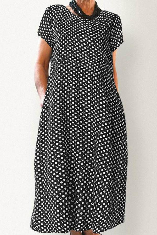 Casual Wave Point Short Sleeves Maxi Dress