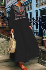 Vintage Casual V Neck Long Sleeves Maxi Dress