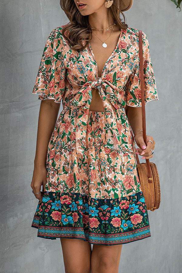 Holiday Knot Front Plunging Neck Floral Print Mini Dress