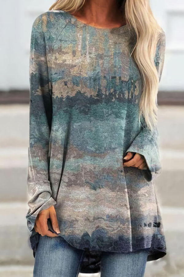 Artistic Abstract Gradient Print Raglan Sleeves Shift T-shirt