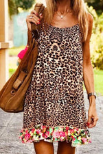 Bohemian Leopard Paneled Print Sling Holiday Mini Dress