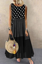 Paneled Polka Dots Plaid Print Sleeveless Casual Maxi Dress