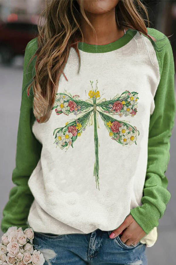 Dragonfly Made By Daisy Rose And Grass Print Raglan Sleeves Color-block Casual Sweatshirt