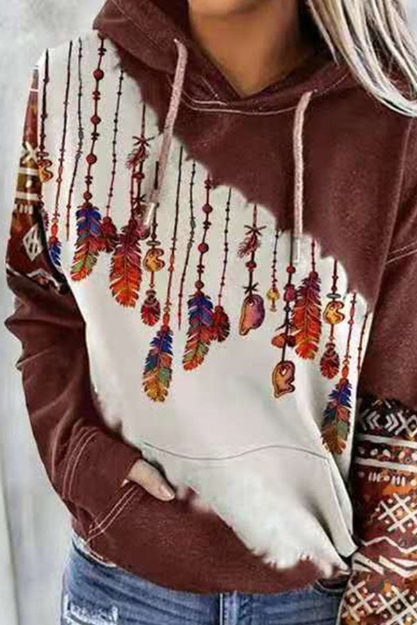 Bohemian Feather Sling Geometric Print Drawstring Pocket Front Color Block Sports Hoodie