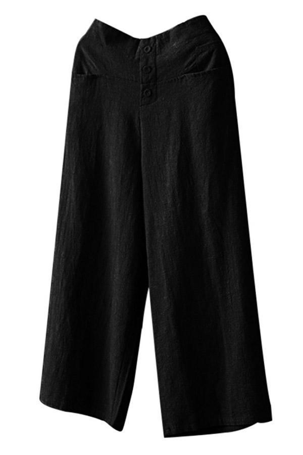 Loose Casual Pocket High Waist Pants