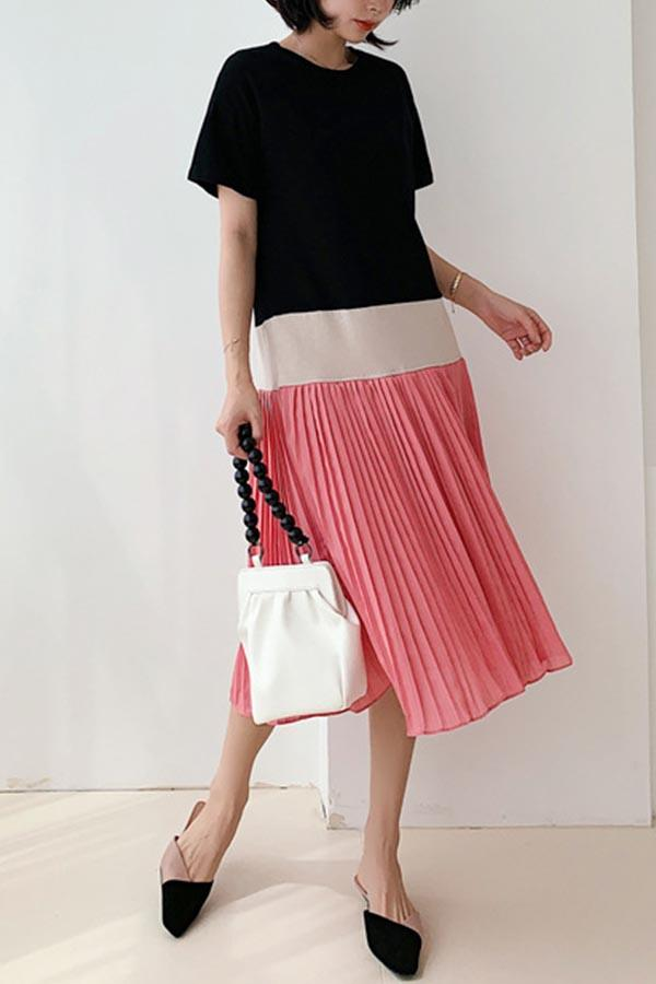 Short Sleeves Color-block Pleated Midi Dress