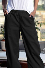 Casual Solid Elastic Side Pockets Irregular Pants