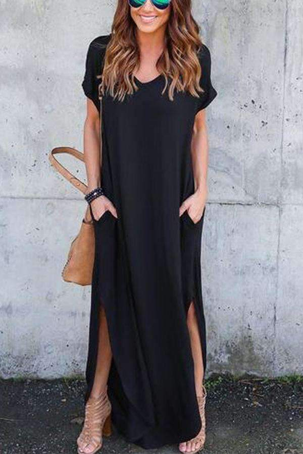 Solid Short Sleeves V Neck Slit Hem Maxi Dress