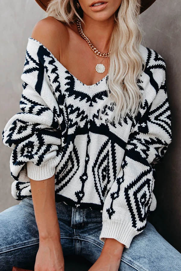 Street Fashion Geometric Jacquard Knitted V-neck Ribbed Sweater