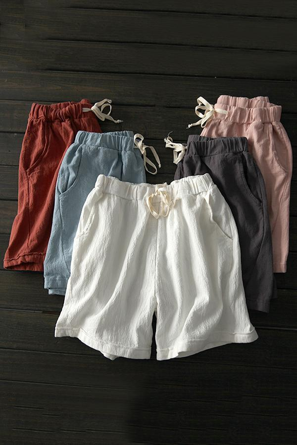 Linen Casual High Waist Self-tie Short Pants