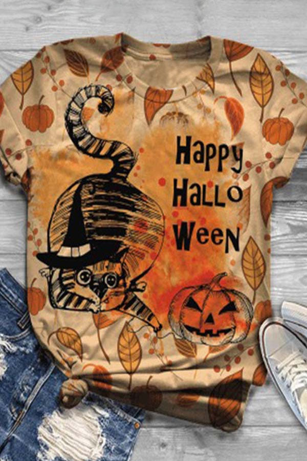 Happy Halloween Cartoon Black Cat Pumpkin Castle Letter Print T-shirt