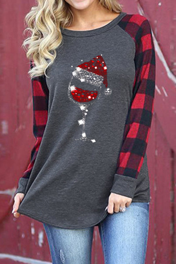 Shining Red Wine Glass With Christmas Hat Plaid Print Color-block Festival T-shirt