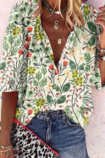 Holiday Floral Print V-neck Paneled Buttons Down Blouse