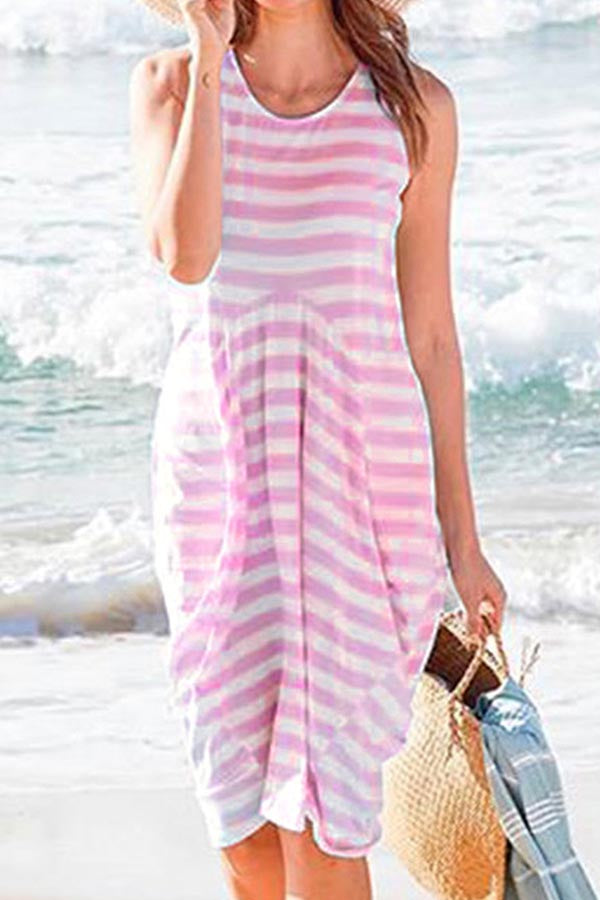 Casual Stripe Sleeveless Midi Dress