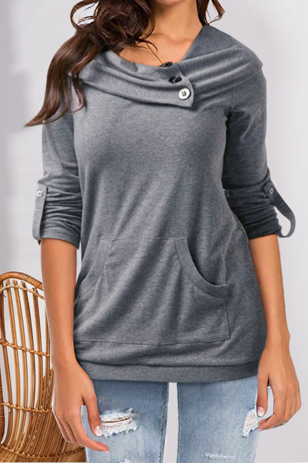 Casual Solid Paneled Buttoned Pile Neck Side Pocket Sweatshirt