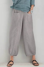 Simple Style Solid Paneled Elastic Pockets Wide Leg Pants
