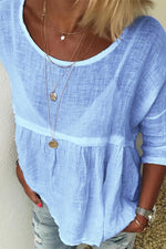 Casual Linen Crew Neck 3/4 Sleeve Ruffle Top