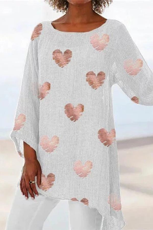 Linen Heart Print 3/4 Length Sleeves Irregular Blouse