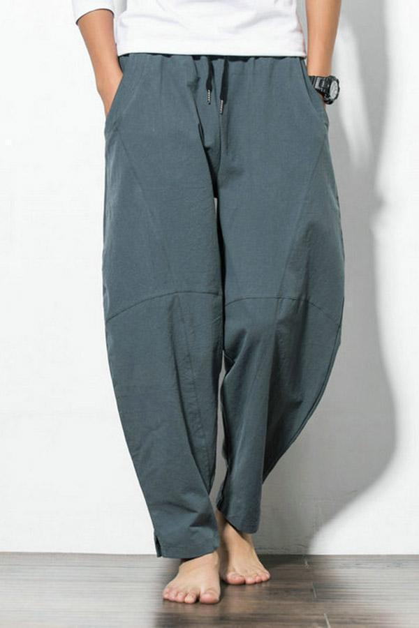 Side Pockets Solid Cotton Pants