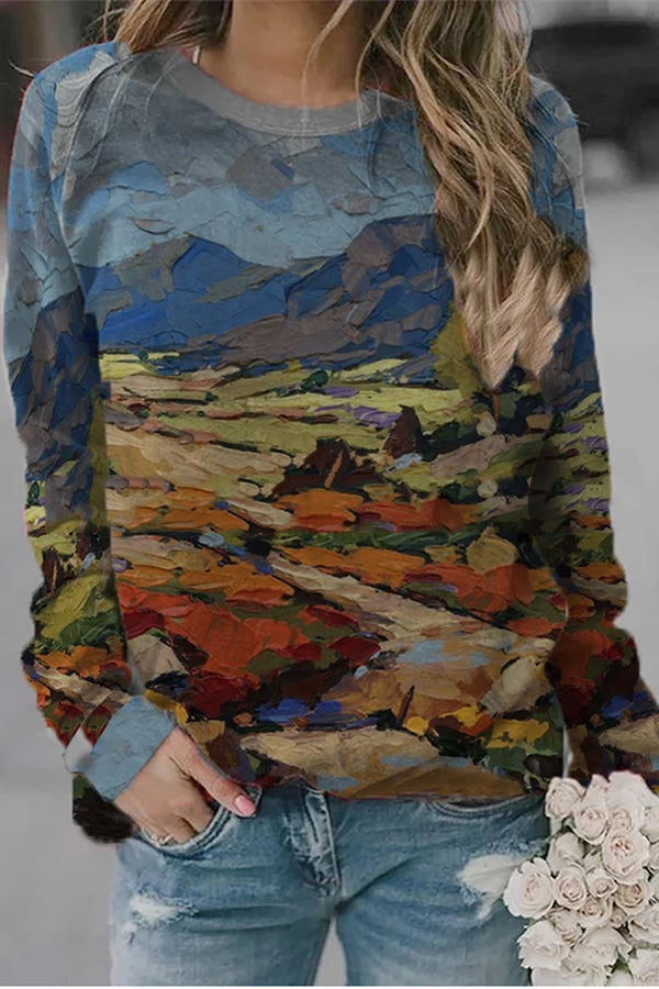 Abstract Oil Painting Colorful Mountain Landscape Print Artistic T-shirt