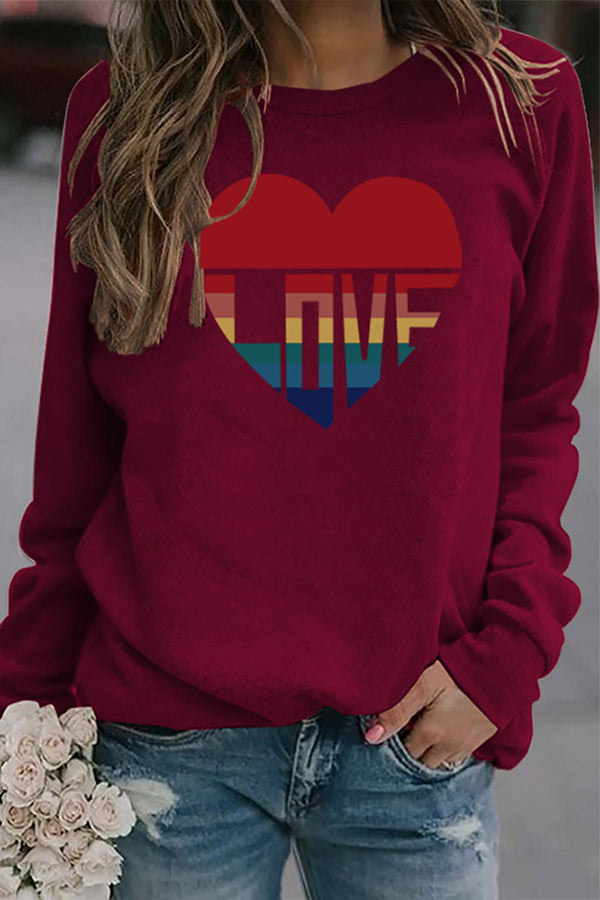 Colorful Love Letter Heart Shaped Print Sweety Shift T-shirt
