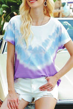 Gradient Print Paneled Casual Short Sleeves T-shirt