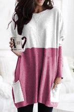 Colorblock Side Pockets Long Sleeve Top