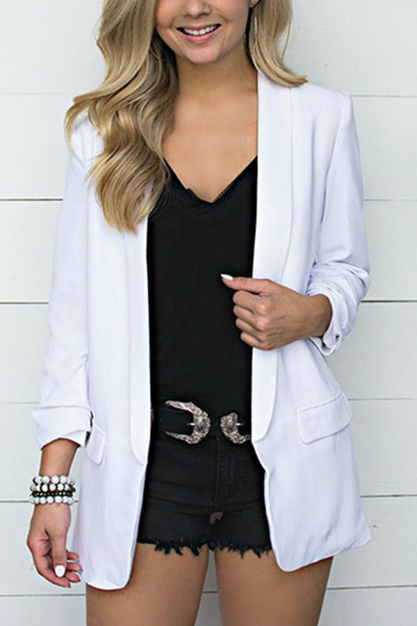 Solid Side Pockets Lapel Long Sleeves Coat