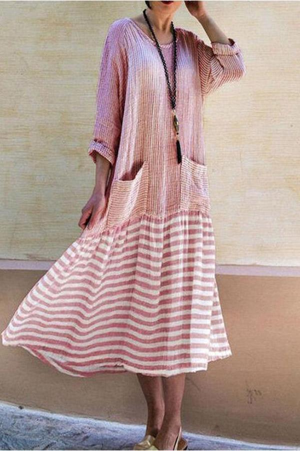 Long Sleeves Striped Paneled Maxi Dress