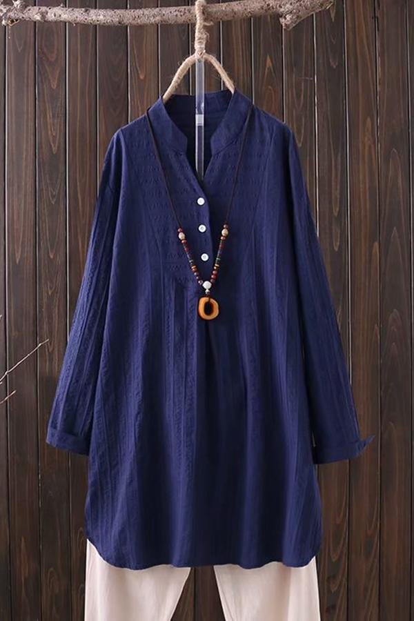 Buttons Long Sleeve Solid Cotton Blouse