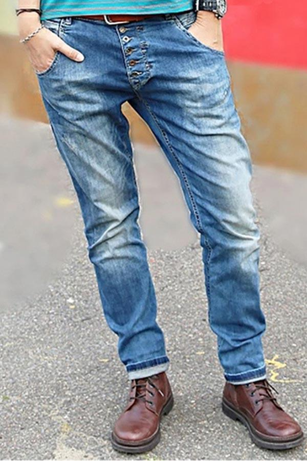 Casual Solid Side Pockets Folds Buttoned Jeans