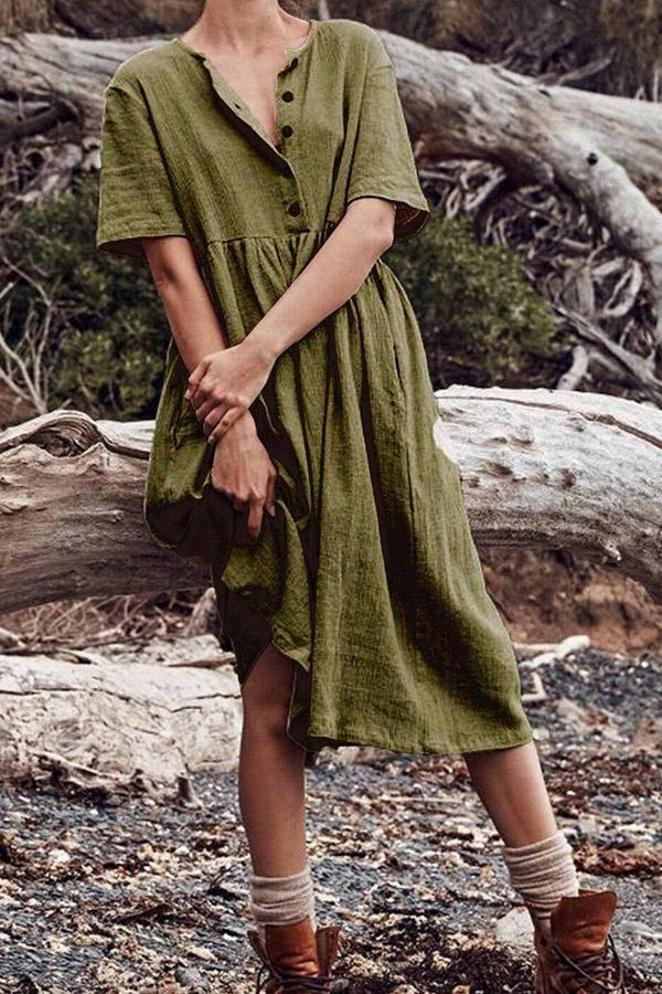 Casual Buttoned Short Sleeves Linen Midi Dress