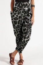 Asymmetric Self-tie Leopard Print Paneled Pockets Holiday Harem Pants