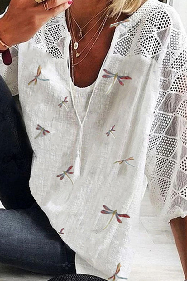 Butterfly Print Paneled V-neck 3/4 Sleeves Hollow Out Casual Blouse