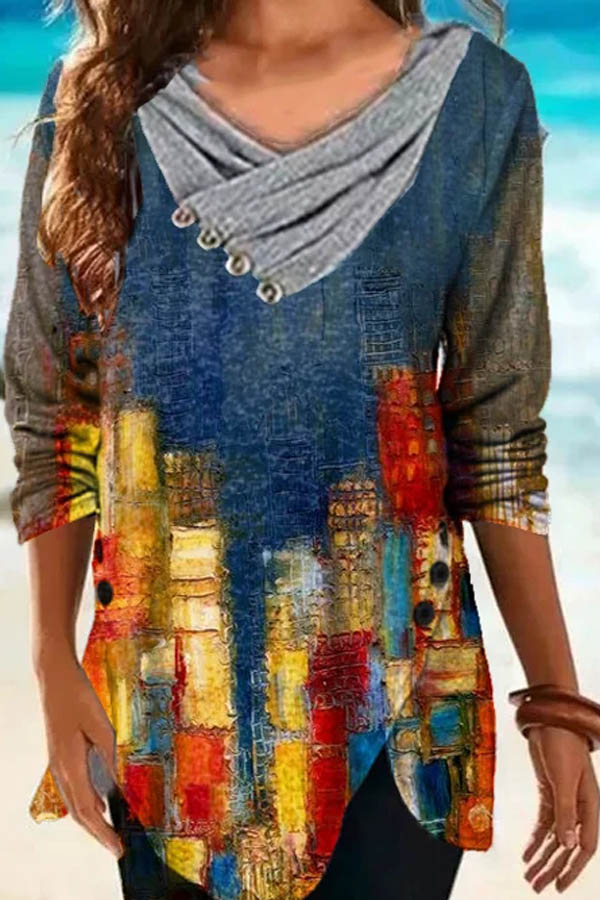 Artistic Abstract Building Painting Mixed Color Print Asymmetric V Neck Pleated Buttoned Irregular Hem T-shirt