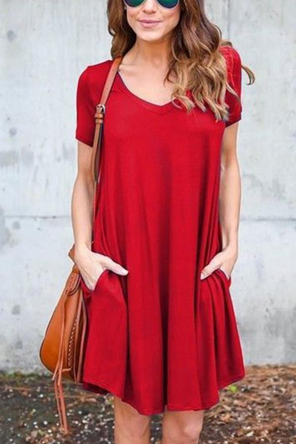V-neck Solid Side Pockets Casual Mini Dress