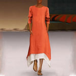 Paneled Long Sleeves Linen Maxi Dress