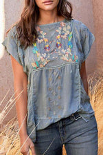 Embroidery Vintage Floral T-shirts