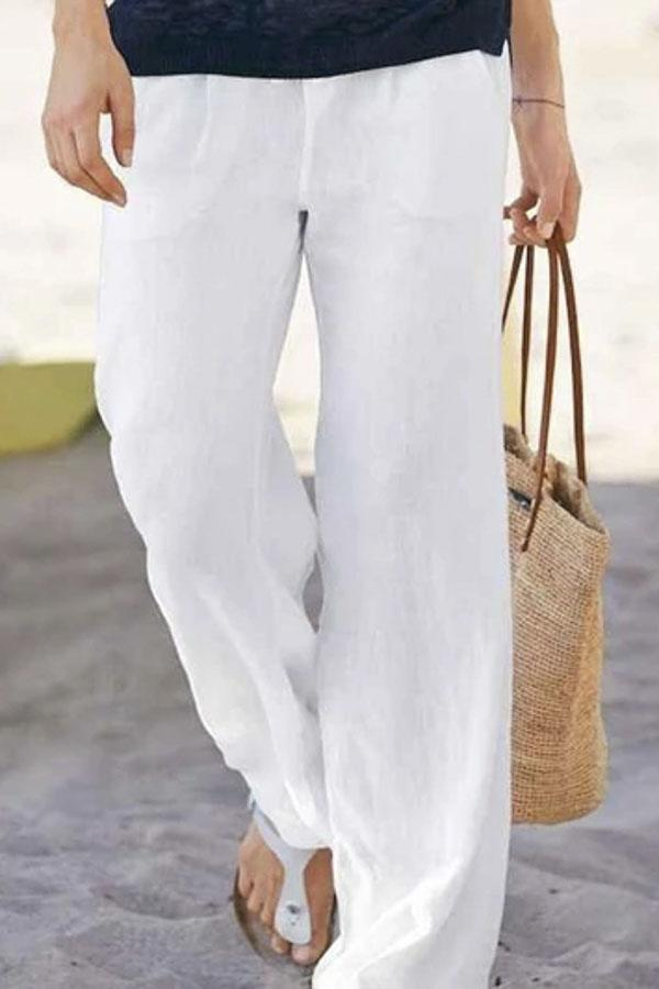Drawstring Waist Pockets Shift Linen Pants