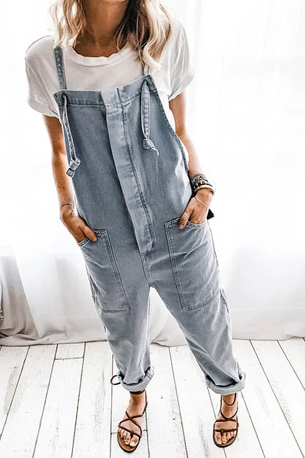 Casual Solid Paneled Side Pockets Sling Denim Jumpsuit